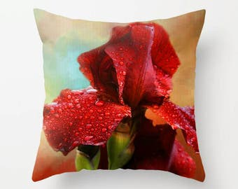 Iris, Throw Pillow, Decorative Pillow, Flower Pillow, Floral Pillow, Flower Photography, Home Decor, Garden, Fine Art Photography