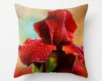 Iris, Throw Pillow, Decorative Pillow, Flower Pillow, Floral Pillow, Flower Photography, Home Decor, Garden, Fine Art Photography