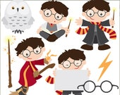 Wizard Clipart Set -Personal and Limited Commercial- Cute Wizard, Owl, Wand, and Broom Clip art