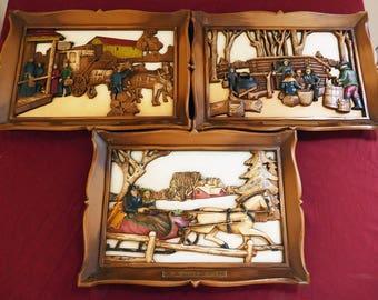 Lot (3) Vintage Wooden Hand Carved Relief Art