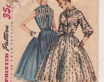 """1956 Bust 30"""" Juniors' Misses' One-Piece Party Dress Vintage Sewing Pattern [Simplicity 1536] Size 12, Complete, Partially Cut"""