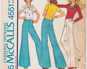 "1970s Bust 31.5"" Misses Knit Top & Bell Bottom Hip Hugger Pants Vintage Sewing Pattern [McCalls 4551] Size 8, Complete"