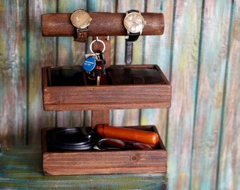 Father's Day Gift, Wood Gift for Men, Man Cave Gift, Desk Organizer, Office Gift Men, Rustic Men Decor, Phone Stand, Docking Station