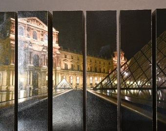 The Louvre at Night, Musee du Lourve, Paris France, McArthur Vertical Wood Blocks