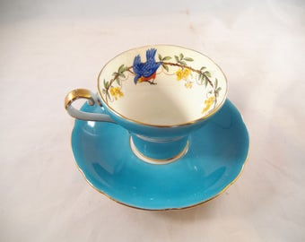 Aynsley Tea Cup and Saucer, Turquoise with a Beautiful Bluebird Inside the Cup, Mint Condition