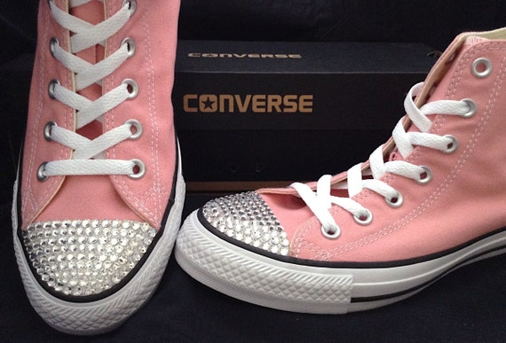 Converse High Top Daybreak Blush Pink Rose US 8.5 Wedding Glass Slippers w/ Swarovski Crystal Canvas Chuck Taylor All Star Sneakers Shoes
