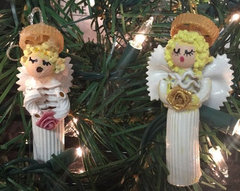 Hand Made Pasta Macaroni Angels Hand Painted Set Of Two Christmas Ornaments