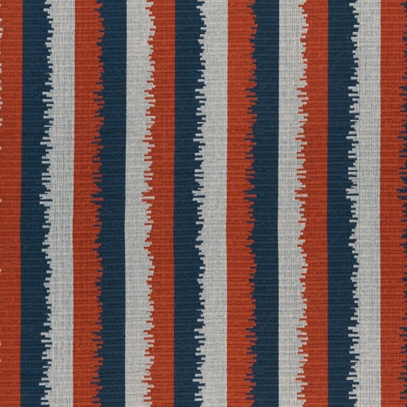 Navy Grey Stripe Upholstery Fabric Orange Blue Chenille