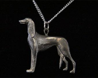 Saluki Necklace - Saluki Jewelry - Pewter Saluki Dog