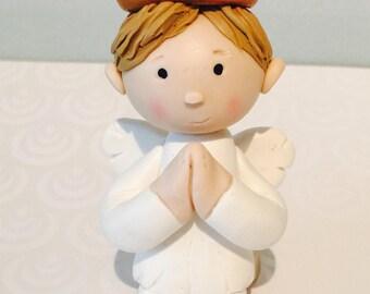 Custom Angel boy cake topper,Baptism,Christening,cake decor,cake topper,Angel cake topper,Angel,polymer clay
