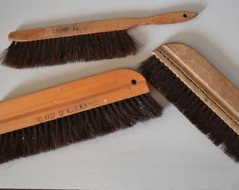 Wood Handle Natural Brush Set of 3 ~ Primitive Brush ~ Wallpaper Brushes