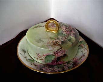 JAEGER Vintage Hand Painted Porcelain Covered Butter Dish Green w Maroon Floral Wedding Gift Bavaria Germany 1902