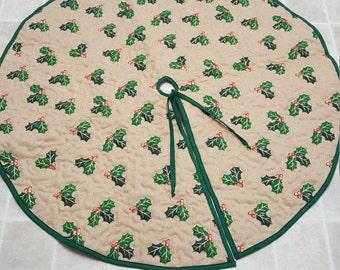 Mistletoe on Burlap Christmas Tree Skirt