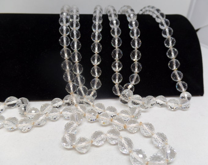 Gorgeous Vintage ART DECO Faceted Crystal Beaded Long Flapper Necklace