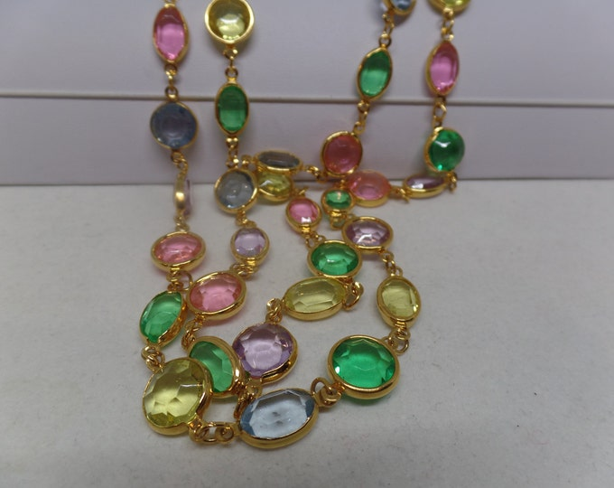 Fabulous Vintage Bezel Set Pastel Crystal Sautoir Necklace