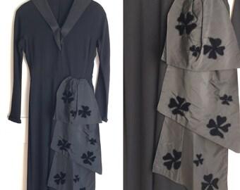Wounded Bird- 1940s Black Dress, 40s Shamrocks Sash Dress, St. Patrick's Day 40s Dress Crepe Rayon with Taffeta and Velvet