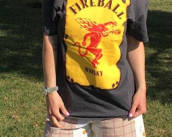 Women's Heathered Grey Fireball Whiskey Off The Shoulder Tee Top Shirt  Medium