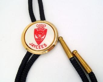 Vintage 1970s Ohio JayCees White Novelty Bolo Tie