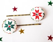 Snowflake bobby pin Christmas hair pin for girl winter headpiece set of 2 barrette