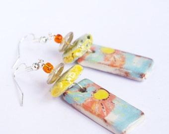 Sunny earrings dangle top seller Christmas gift Sun orange yellow happy jewlery