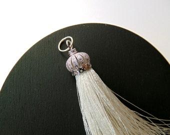 Zirconia Micro Pave Cap Silk Tassel, White Tassel Pendants, Jewelry Making Tassels,  Handmade Tassels