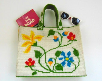 Vintage Tote Bag | Handmade Floral Needlepoint Summer Tote | 1980s