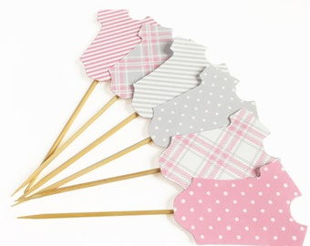 Printable Girl Onesie Cupcake Toppers -Pink