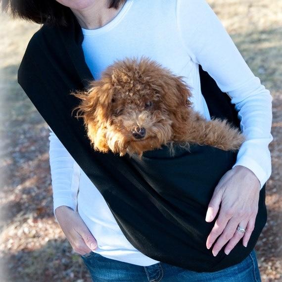 Pet Sling with Pocket - Solid Black