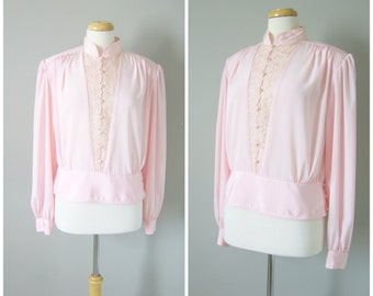 Vintage VICTORIAN BLOUSE in SHELLPINK/size Medium Large