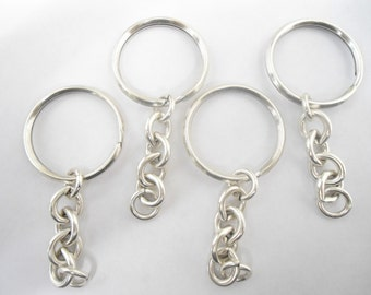 4 Vintage Silverplated Key Rings with Chain