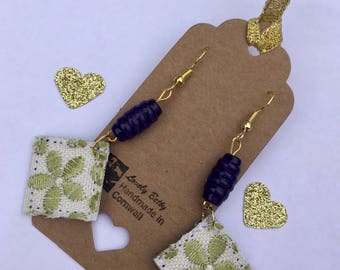 Green and blue fabric flower earrings