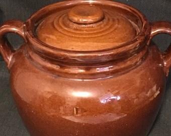 Vintage Crock Bean Pot USA Pottery Brown Glazed Bean Pot