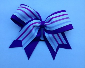 Purple striped Cheer Bow