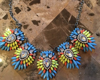 Chunky Statement Necklace-Bib Necklace-Statement Necklace-Turquoise-Yellow-Orange-One of a Kind-Hand Made-Designs by Stalinda