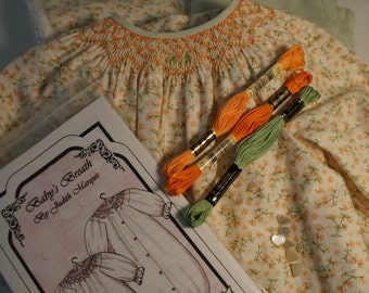 Autumn Floral Baby Bunting Pre-Pleated Smocking Kit, Ready to Sew Kit