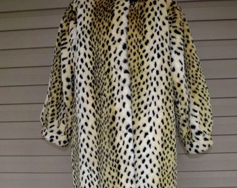 AWESOME circa 1985 Style VI Ltd. faux fur leopard coat sz L or XL