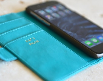 Luxury Turquoise iPhone Case with Gold Lettering