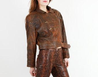 80s Leather Jacket / Vintage Leather Jacket / Woman Leather Jacket /  Brown Faded Jacket / Faded Leather Jacket / Crop Leather Jacket
