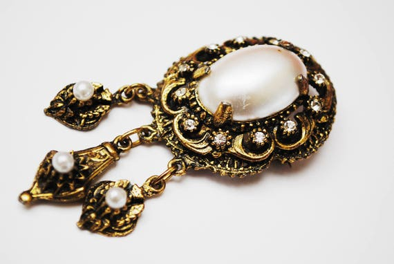 White Pearl  Brooch Pendant- Clear rhinestone - Gold ornate scallop  - Victorian Revival - Dangle  pin