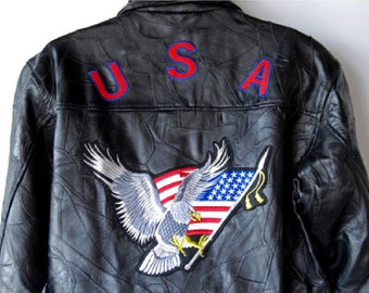 Leather Jacket Biker Motorcycle USA Flag Eagle Patches Genuine Leather Black Bomber Coat Vintage 80s Men's 3XL - XXXL