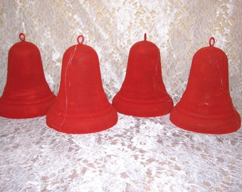 Set of 4 Vintage Flocked Bells