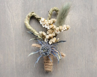 Natural Dried Floral Rustic Wedding Boutonniere, Buttonhole, Thistle, Everlasting Keepsake