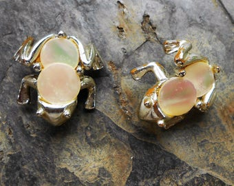 Pair Vintage 1950's Silver Tone Mother of Pearl Frog Pins