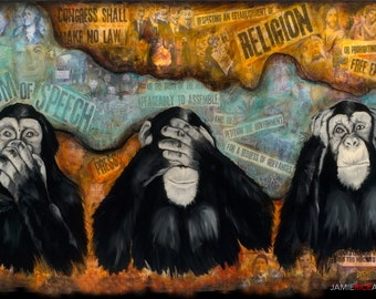"Monkeys, First Amendment 5""x7"" Unframed Art Print by Jamie Rice-Desk art, Wall decor. Framed or Unframed"