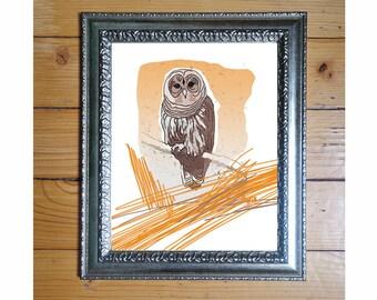 Animal Art, Owl Print, Rustic Decor, Owl Decor , Bird Print, Owl Poster, Owl Wall Decor / 8x10inches
