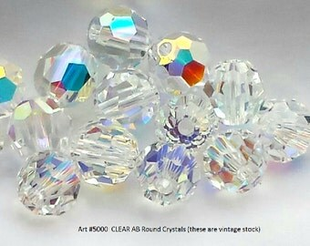 24+ Swarovski Art #5000  CLEAR AB 8mm Round Crystals, Vintage Stock.  New in box.