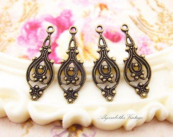 Ornate Antiqued Brass Ox Victorian Filigree Drops Earring Dangles -4