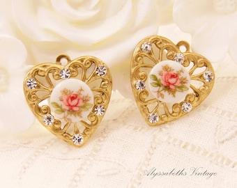 Chic Pink Rose Cameo & Crystal Rhinestone Brass Filigree Heart Charms 18x17mm - 2
