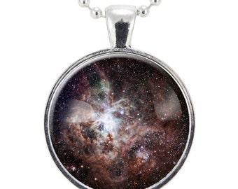 Tarantula Nebula Necklace, Galaxy Jewelry, Universe Pendant (1163S25MMBC)