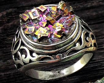 Bismuth Crystal and Sterling Silver Ring. Size 7,  by Element83 from a Bismuth Geode - Bismuth Ring Science Gift Chemistry Gift